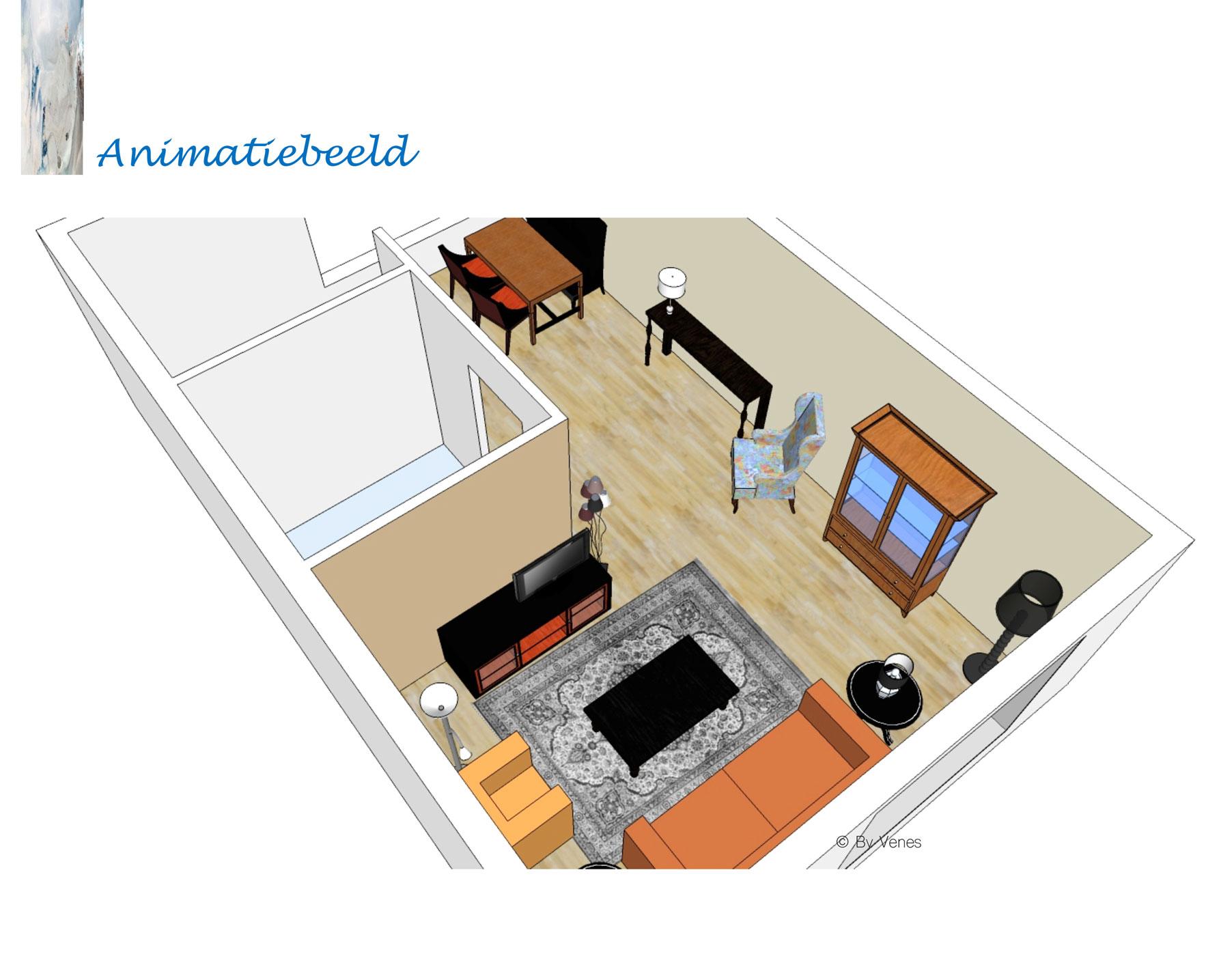 3D Animatie woonkamer interieurplan -By Venes