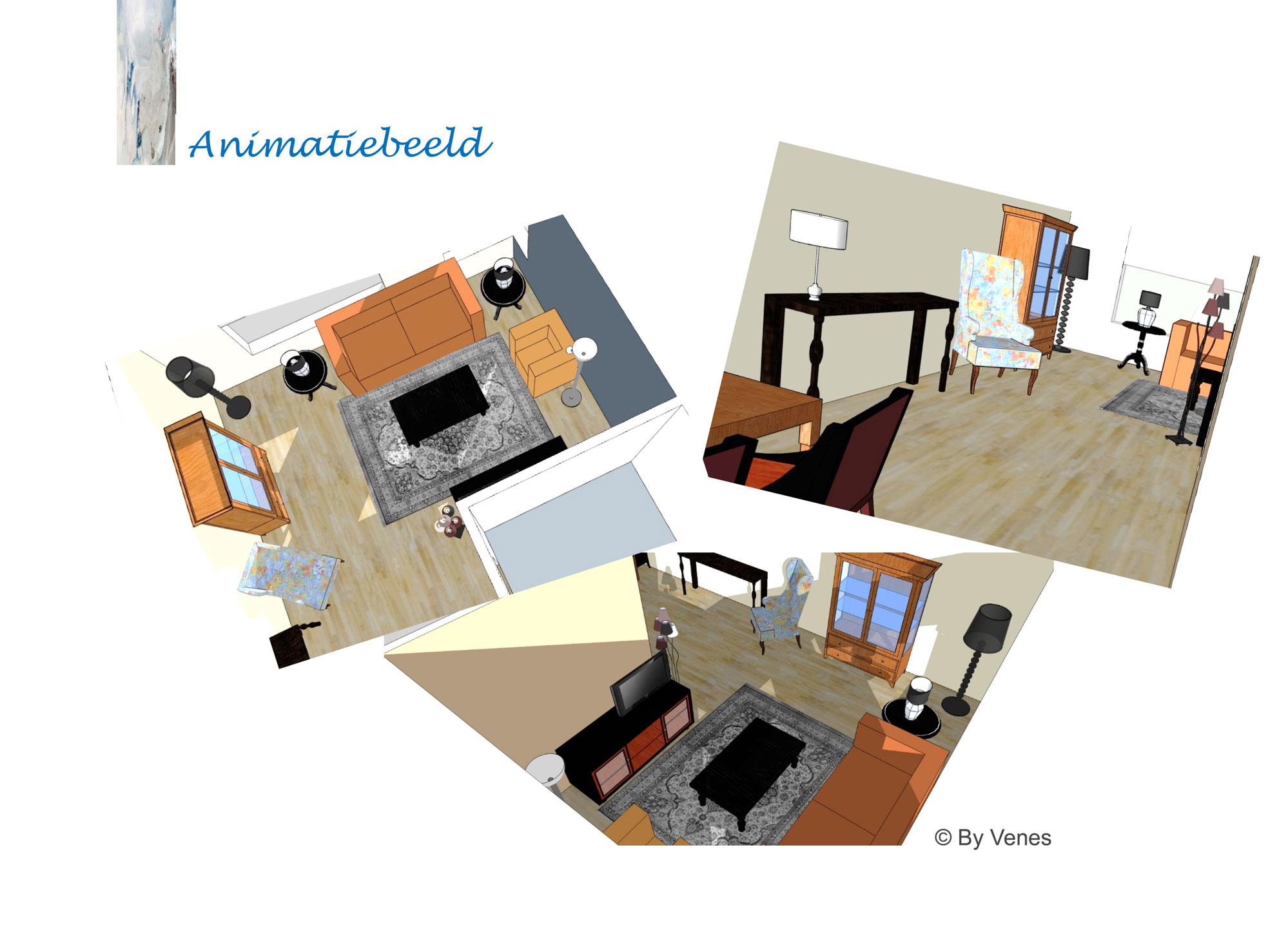 3d-beelden woonkamer advies Heerlen - interieurontwerp By Venes