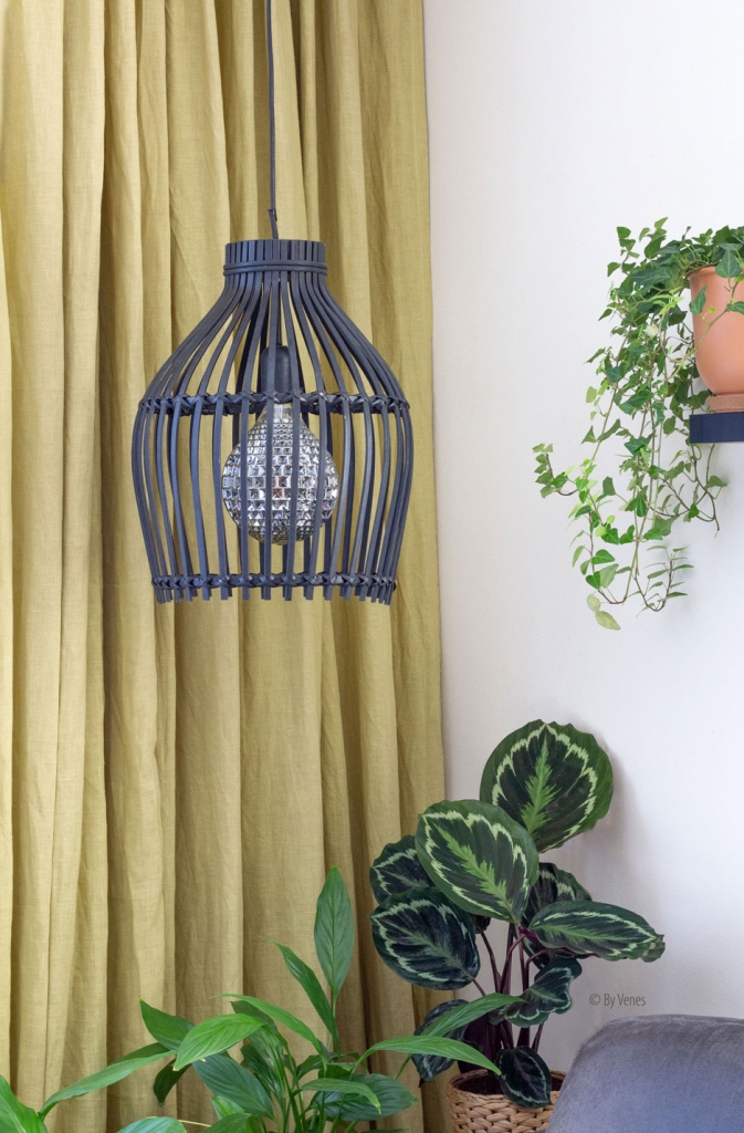 Bamboe lamp zwart urban jungle interieur