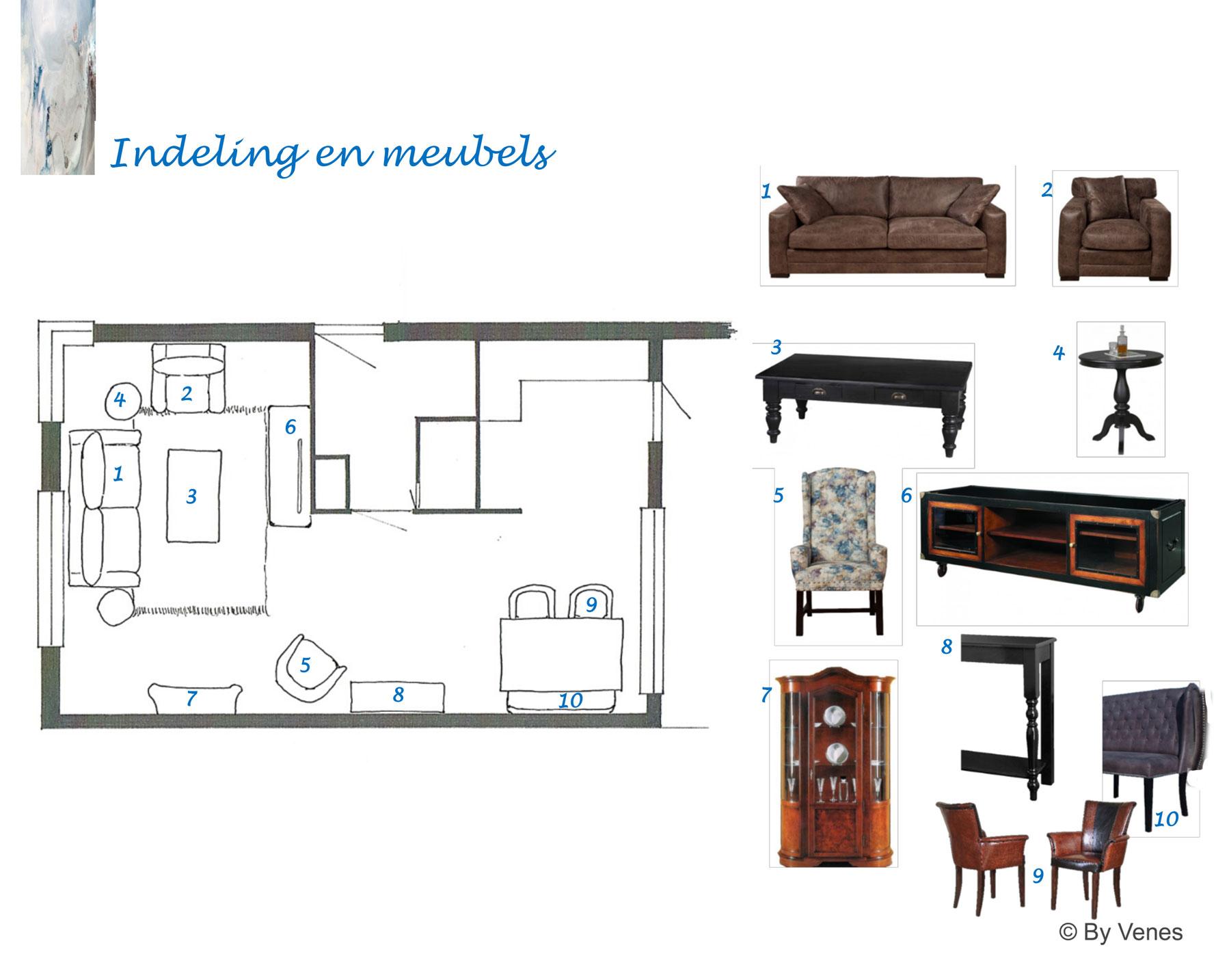 Indelingsplan en meubeladvies woonkamer Heerlen