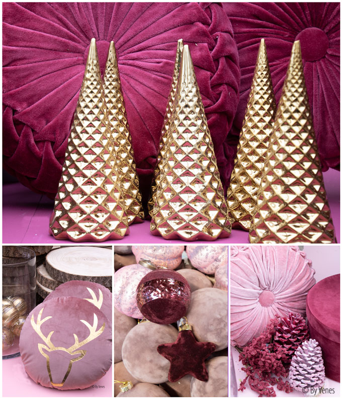 Kerstdecoratie kerstbal fluweel roze