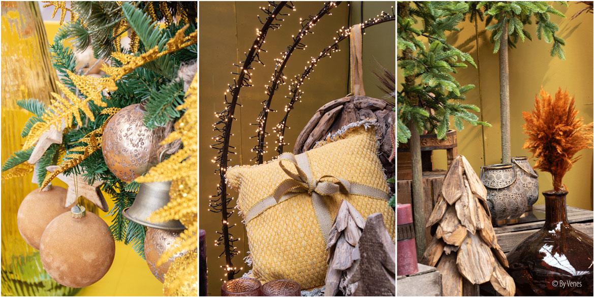 Kersttrends 2019, welke kerstdecoratie en accessoires kies jij deze kerst?  kerstbal koper geel kussen franje