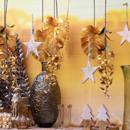 kerstdecoratie kerstster goud zilver hout