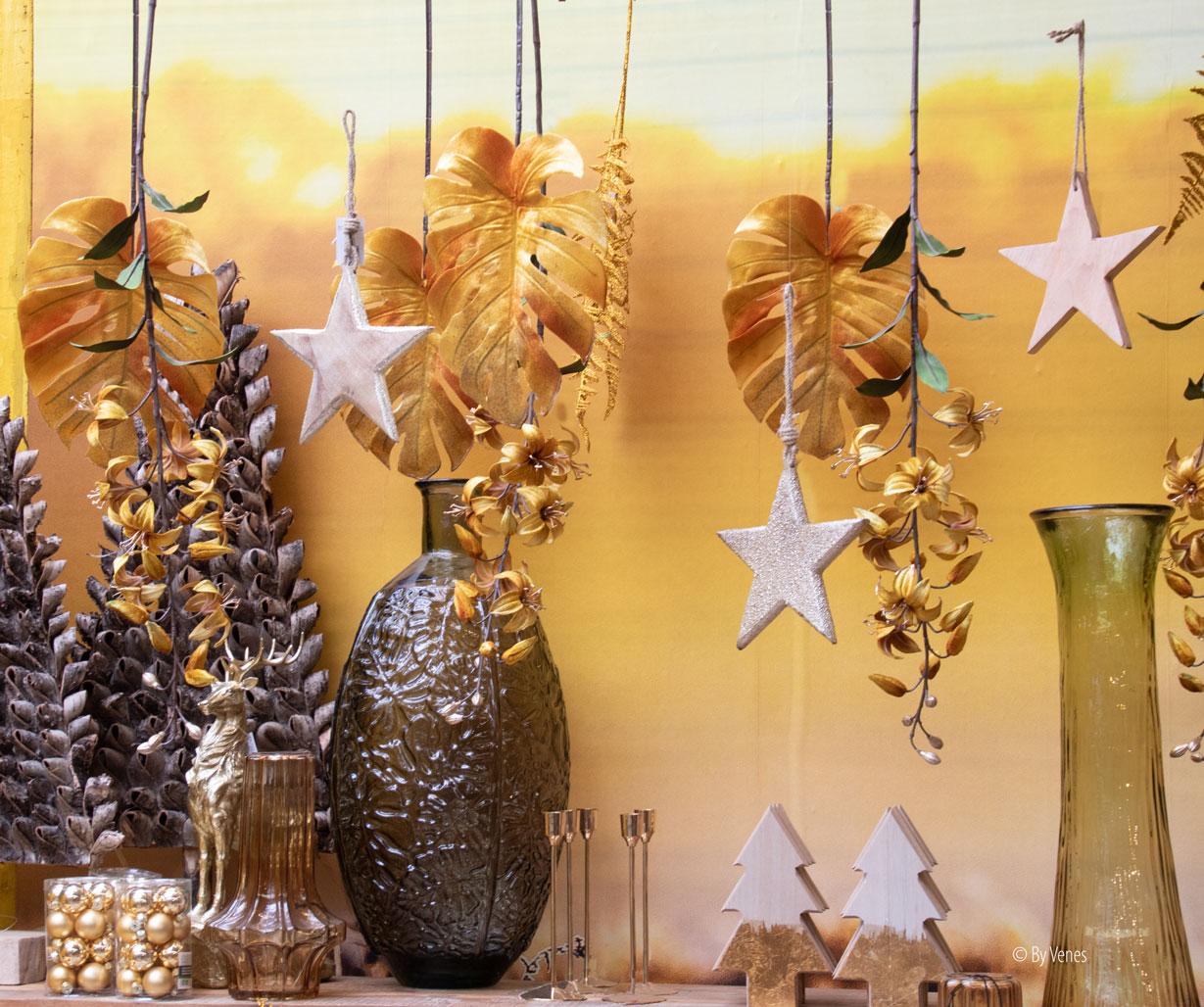 kerstdecoratie kerstster goud zilver hout. kersttrends 2019