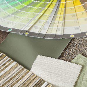 kleur en materiaal groen bruin en beige tinten