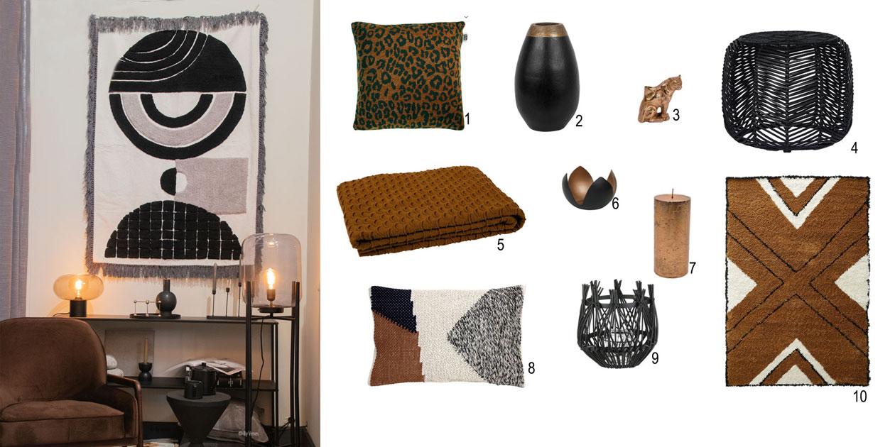 Warme sfeer met accessoires stijl Afrika. Shop the look